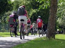 Grupa cykliści w parku Fotografia Royalty Free