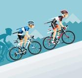 Grupa cyklisty mężczyzna w drogowy rowerowy ścigać się iść góra ilustracji