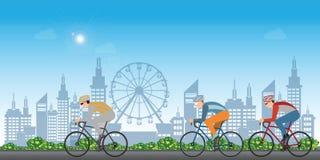 Grupa cyklisty mężczyzna w drogowy rowerowy ścigać się na miasto widoku tle ilustracja wektor