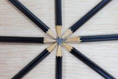 Grupa czarni drewniani ołówki Fotografia Royalty Free
