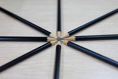 Grupa czarni drewniani ołówki Obraz Royalty Free