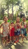 Grupa cztery młodej dziewczyny fotografia stock