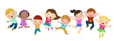 Grupa doskakiwanie dzieciaki ilustracji