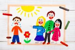 Grupa dzieci śmia się przy płacz chłopiec Szkolna przemoc royalty ilustracja