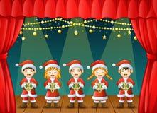 Grupa dzieci śpiewa kolęda na scenie ilustracja wektor