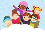 Grupa dzieci bawić się w śniegu w zimie royalty ilustracja