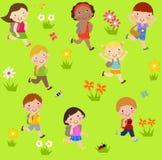 Grupa dzieci biega z torbą royalty ilustracja