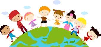 Grupa dzieci i kula ziemska royalty ilustracja