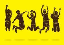 Grupa dzieci skacze, Szcz??liwa Podnosz?cy na duchu kresk ilustracji