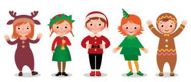 Grupa dzieci w kostiumach Bożenarodzeniowych royalty ilustracja