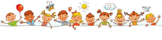 Grupa dzieci z puste miejsce deską Rysować jak dzieci ilustracji