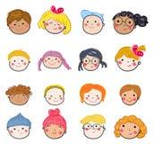Grupa dzieciak twarzy set Zdjęcia Stock