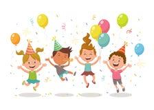 Grupa dzieciaki świętuje przyjęcia ilustracji