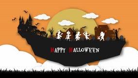 Grupa dzieciaki biega szczęśliwie na Halloweenowej nocy Obrazy Stock