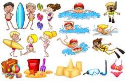 Grupa dzieciaki cieszy się lato ilustracji