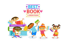 Grupa dzieciaki Czyta Ślicznym dzieciom Szczęśliwy ono Uśmiecha się Z książkami ilustracja wektor