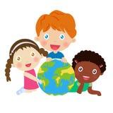 Grupa dzieciaki i kula ziemska ilustracja wektor