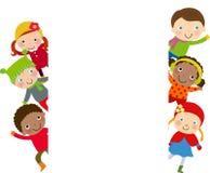 Grupa dzieciaki i rama - zima Zdjęcia Stock