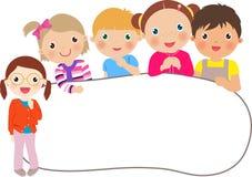 Grupa dzieciaki i sztandar Zdjęcie Stock
