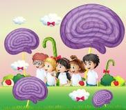 Grupa dzieciaki przy candyland ilustracji