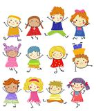 Grupa dzieciaki, rysuje nakreślenie ilustracja wektor