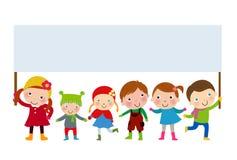 Grupa dzieciaki trzyma sztandar Obraz Royalty Free