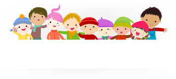Grupa dzieciaki trzyma sztandar ilustracji