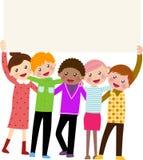 Grupa dzieciaki trzyma sztandar Zdjęcie Royalty Free