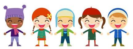 Grupa dzieciaki w zima odziewa Obrazy Royalty Free