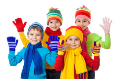 Grupa dzieciaki w zimie odziewa Obrazy Royalty Free
