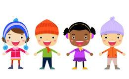 Grupa dzieciaki - zima Obraz Stock