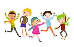 Grupa dzieciaki - zima Fotografia Stock