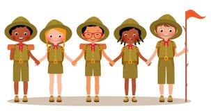 Grupa dziecko chłopiec i dziewczyna harcerze w mundurze royalty ilustracja