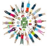 Grupa dziecko okrąg z hobby symbolami obraz royalty free