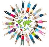 Grupa dziecko okrąg z symbolem obrazy stock