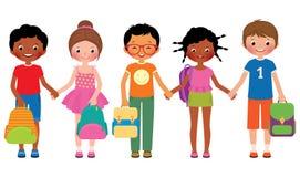 Grupa dziecko ucznie z szkolnymi torbami royalty ilustracja