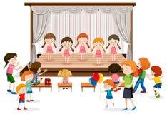Grupa dziewczyny przedstawienie na scenie ilustracja wektor