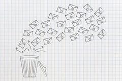 Grupa emaile iść w śmieciarskim koszu lub z fotografia royalty free