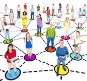 Grupa etniczni ludzie socjalny networking Zdjęcia Stock