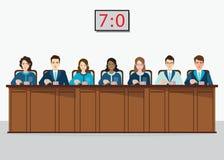 Grupa fachowa rywalizacja sądzi pchnięcie guzika z estima ilustracja wektor