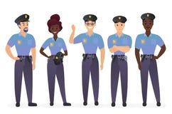 Grupa funkcjonariuszów policji ludzie Mężczyzny i kobiety pracowników ochronych policjantów charakterów wektoru ilustracja royalty ilustracja