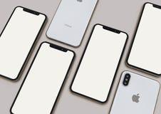 Grupa iPhone XS telefonów mądrze skład zdjęcie royalty free