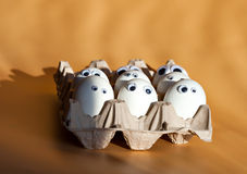 Grupa jajka z fałszywymi oczami w kartonowym zbiorniku Wielkanoc Zdjęcia Royalty Free
