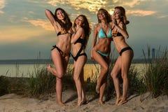 Grupa jest ubranym bikini pozuje przy zmierzch plażą cztery modela Zdjęcia Royalty Free