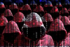 Grupa kapturzaści hackery błyszczy przez cyfrowego koreańczyk z korei północnej f Obraz Royalty Free