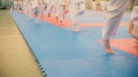 Grupa karateka nastolatkowie w kimonie biega na tatami w gym Obraz Royalty Free