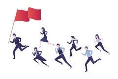 Grupa kierownictwa biega z flag? ilustracji