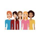 Grupa kobiety ikona ilustracji