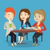 Grupa kobiety pije gorących i alkoholicznych napoje ilustracji