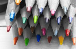 Grupa kolorów ołówki w czarny i biały fotografia royalty free